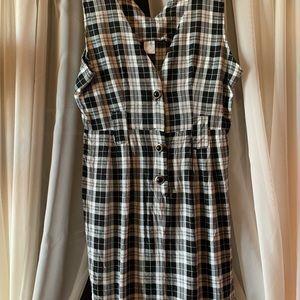 Dresses - Checkered vintage sleeveless dress